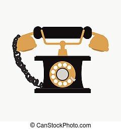 vindima, telefone, branco, fundo, vetorial