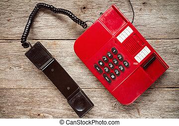 vindima, telefone vermelho, ligado, rústico, boards.