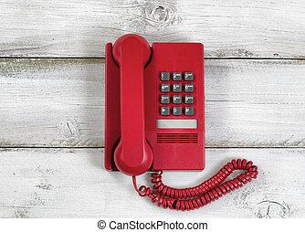 vindima, telefone vermelho, ligado, rústico, branca, placas madeira