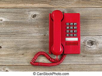 vindima, telefone vermelho, ligado, rústico, placas madeira