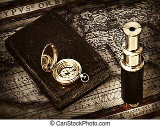 vindima, telescópio, e, compasso, em, mapa antigüidade