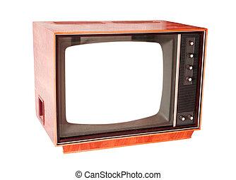 vindima, televisão, com, vazio, tela, isolado, branco, fundo