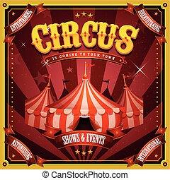vindima, topo, circo, grande, cartaz