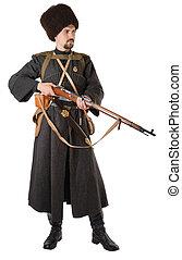 vindima, traje, russo, cossack, rifle., homem