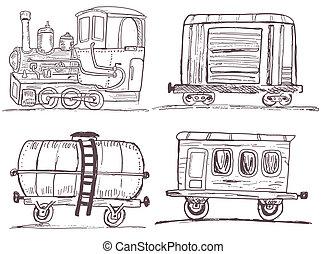 vindima, trem, -, esboço, vagões