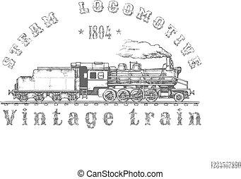 vindima, trem, ilustração