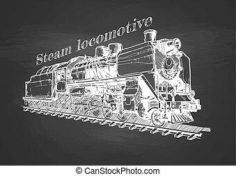 vindima, trem, quadro-negro