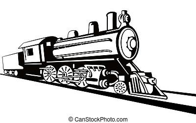 vindima, trem, retro, vista lateral