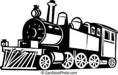 vindima, trem vapor, feito dentro, preto branco