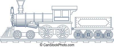 vindima, trem vapor, gravar, illustration., vetorial