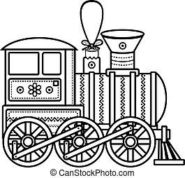 vindima, trem, vetorial, icon.