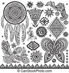 vindima, tribal, jogo, étnico, padrão