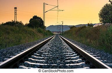 vindima, vazio, ferrovia, em, pôr do sol, tempo