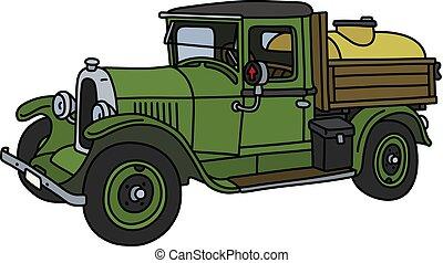 vindima, verde, caminhão, tanque
