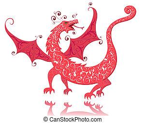 vindima, vermelho, dragão
