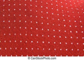 vindima, vermelho, tecido, com, branca, pontos