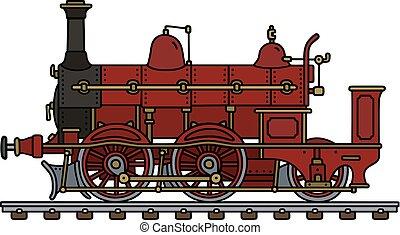 vindima, vermelho, vapor, locomotiva
