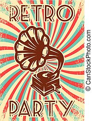 vindima, vetorial, anunciando, cartaz, partido, gramophone