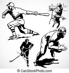 vindima, vetorial, atletas