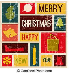 vindima, vetorial, cartão natal