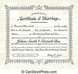 vindima, vetorial, casamento, certificado.