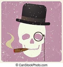 vindima, vetorial, cavalheiro, cranio