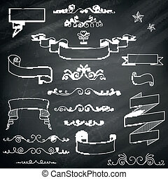 vindima, vetorial, chalkboard, elementos