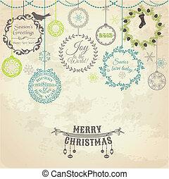 vindima, -, vetorial, desenho, scrapbook, cartão natal