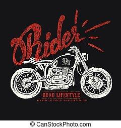 vindima, vetorial, motocicleta, mão, desenhado