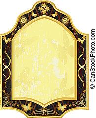 vindima, vetorial, ouro, etiqueta, 1