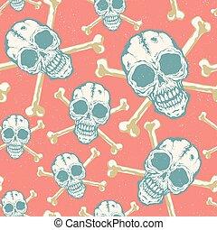 vindima, vetorial, padrão, com, skulls.