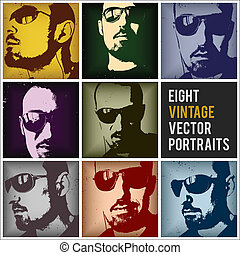 vindima, vetorial, retratos