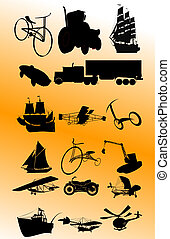 vindima, vetorial, transporte, set;
