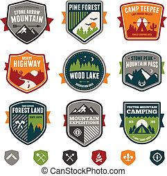 vindima, viagem, e, acampamento, emblemas