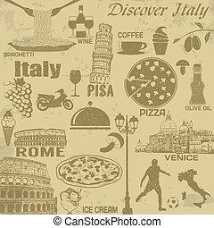 vindima, viagem, itália, cartaz