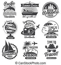 vindima, viagem, vetorial, logotipo, jogo