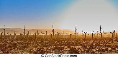 vindmølle farm, solopgang