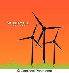vindmølle, felt, eftermiddag, illustration