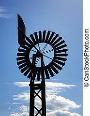 vindmølle, hos, blå himmel