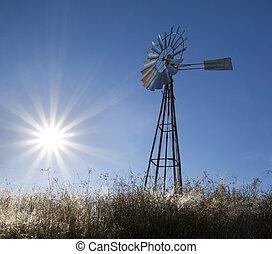 vindmølle, hos, sol, opblussende, blå himmel