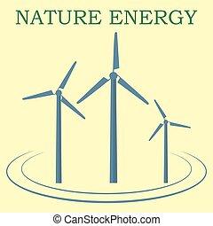 vindmølle, natur, energi, gul, baggrund., ikon