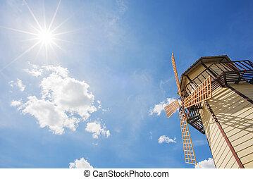 vindmølle, og blå, himmel, hos, sol, stjerne