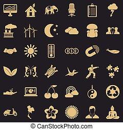 vindmølle, sæt, firmanavnet, enkle ikoner