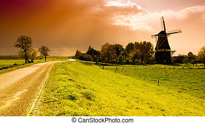 vindmølle, solnedgang, landskab