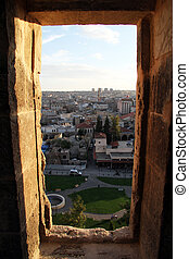 Vindow in Gaziantep - View from the fortress through the ...