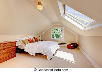 vindsvåning, nymodig, säng, skylight., sovrum, vit