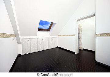 vindsvåning, rum, med, tak, takfönster, fönster