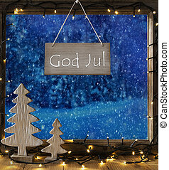 vindue, vinter, skov, gud, jul, betyder, glædelig jul
