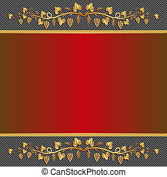 red background with vine ornaments