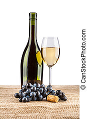 vine bottle and glass with grape